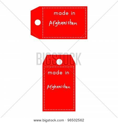 Red Price Tag Or Label With White Word Made In Afghanistan Isolated On White Background