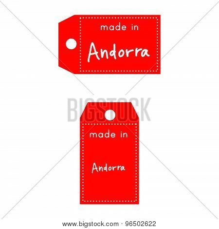 Red Price Tag Or Label With White Word Made In Andorra Isolated On White Background