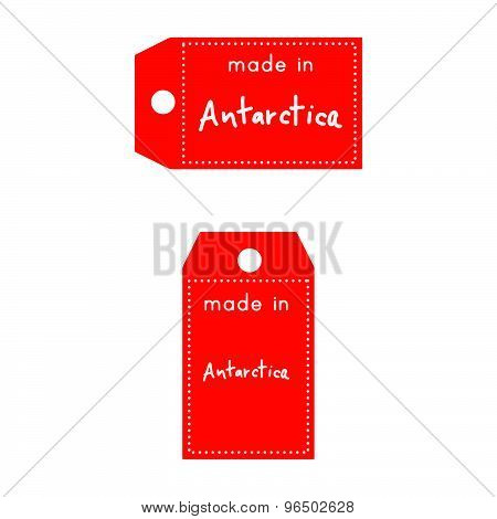 Red Price Tag Or Label With White Word Made In Antarctica Isolated On White Background