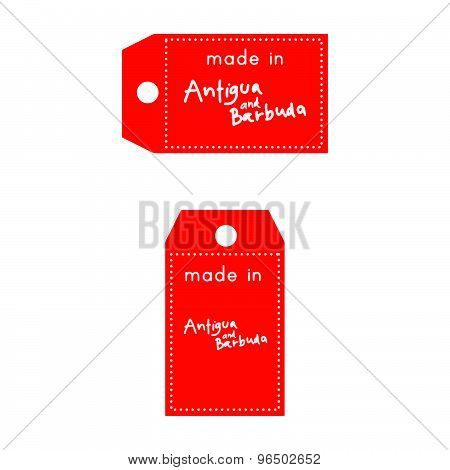 Red Price Tag Or Label With White Word Made In Antigua And Barbuda Isolated On White Background