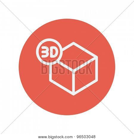 3D box thin line icon for web and mobile minimalistic flat design. Vector white icon inside the red circle.