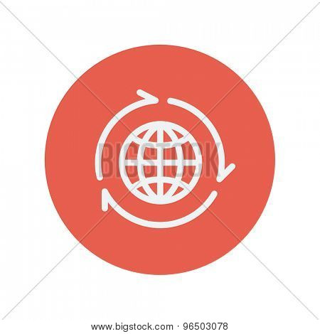 Globe with arrow thin line icon for web and mobile minimalistic flat design. Vector white icon inside the red circle.