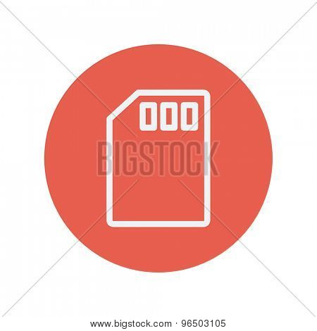 Memory card thin line icon for web and mobile minimalistic flat design. Vector white icon inside the red circle.