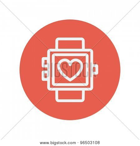 Wristwatch with heart display thin line icon for web and mobile minimalistic flat design. Vector white icon inside the red circle.