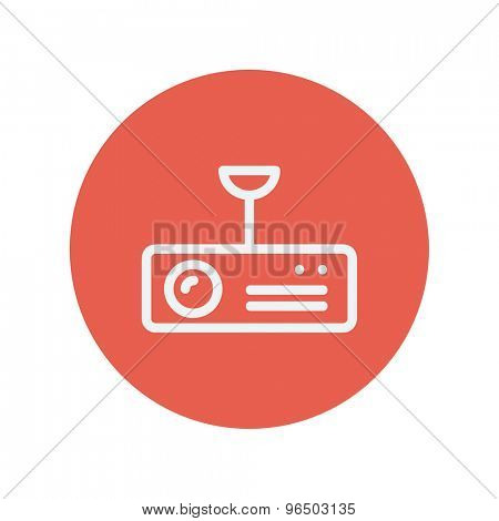 Vintage radio with analog dials and antenna thin line icon for web and mobile minimalistic flat design. Vector white icon inside the red circle.