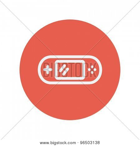 Video game controller thin line icon for web and mobile minimalistic flat design. Vector white icon inside the red circle.