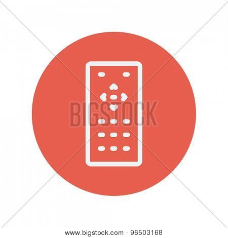 Remote control thin line icon for web and mobile minimalistic flat design. Vector white icon inside the red circle.