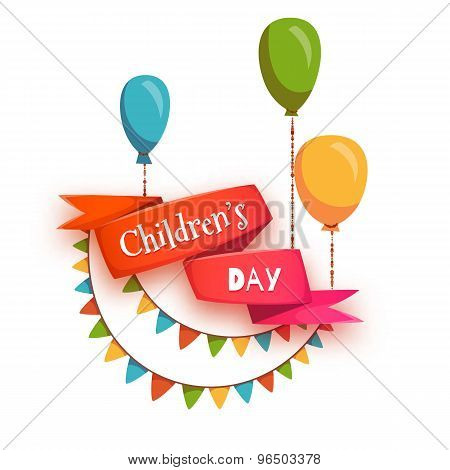 Red ribbon with Children Day title, balloons and flags. Vector illustration