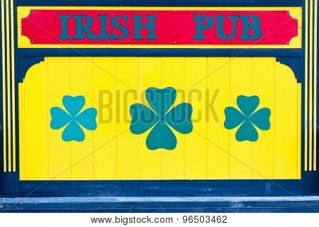 Irish Pub Sign In Yellow With Clover