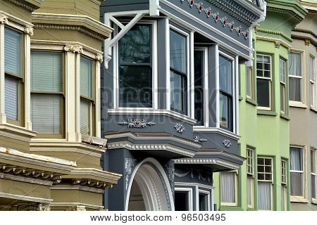 Old Colourful Victorian Houses Faced In San Francisco
