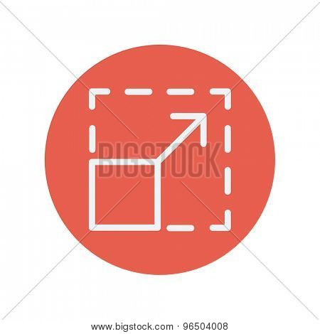 Responsive design thin line icon for web and mobile minimalistic flat design. Vector white icon inside the red circle.