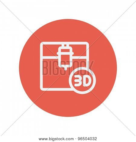 3D printing machine thin line icon for web and mobile minimalistic flat design. Vector white icon inside the red circle.