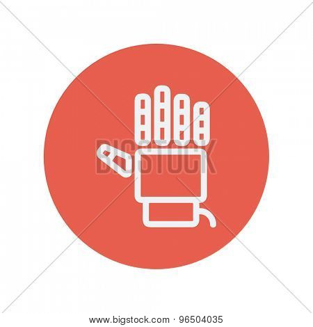 Robot hand thin line icon for web and mobile minimalistic flat design. Vector white icon inside the red circle.