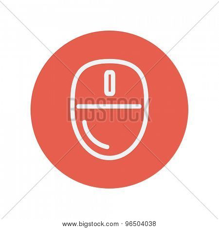 Computer mouse thin line icon for web and mobile minimalistic flat design. Vector white icon inside the red circle.