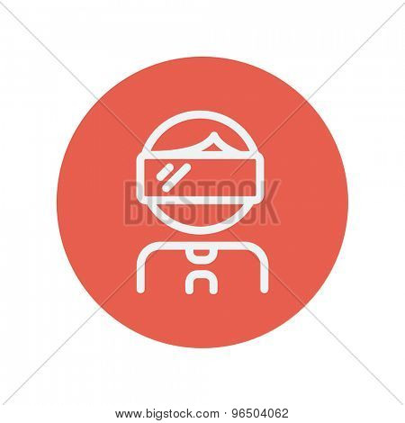 Virtual reality glass on head thin line icon for web and mobile minimalistic flat design. Vector white icon inside the red circle.