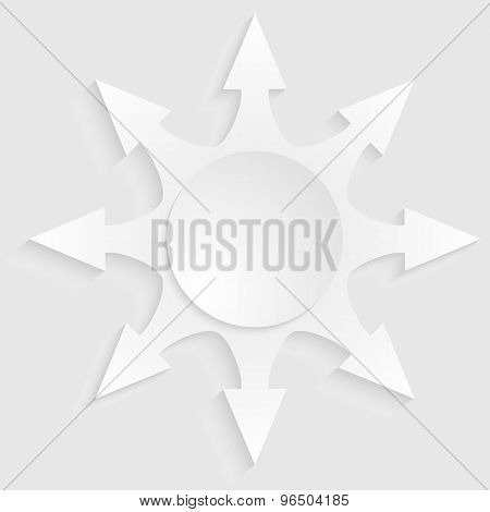 Arrow-sunbeam-effect-cut-paper-isolated-on-white-background