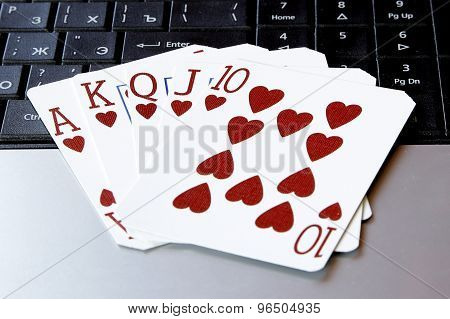 Internet Casino Poker Royal Flush Cards Combination Hearts