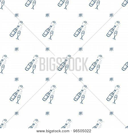 Vector hand drawn champagne bottle seamless pattern
