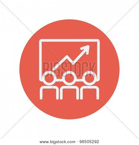 Business growth thin line icon for web and mobile minimalistic flat design. Vector white icon inside the red circle.