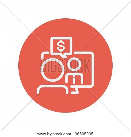 Business discussion thin line icon for web and mobile minimalistic flat design. Vector white icon inside the red circle.