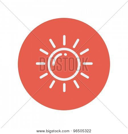 Sun thin line icon for web and mobile minimalistic flat design. Vector white icon inside the red circle