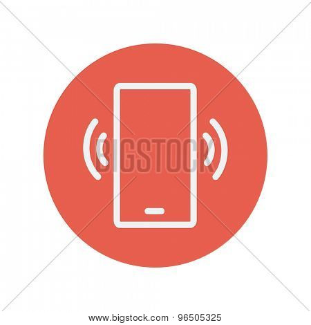 Mobile phone vibrating thin line icon for web and mobile minimalistic flat design. Vector white icon inside the red circle.