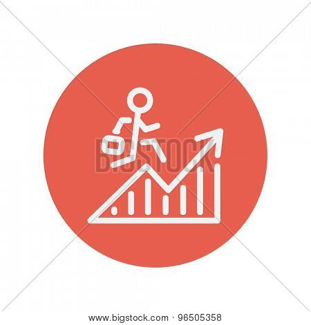 Financial recovery thin line icon for web and mobile minimalistic flat design. Vector white icon inside the red circle.