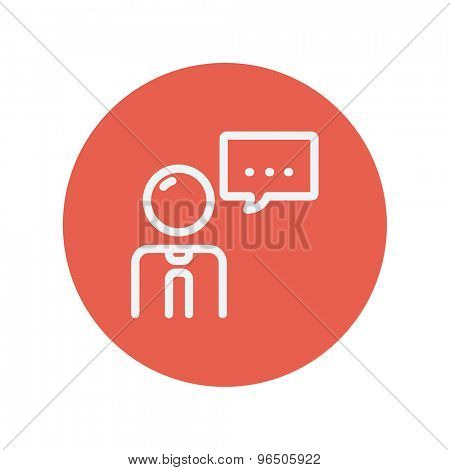 Man with speech bubble thin line icon for web and mobile minimalistic flat design. Vector white icon inside the red circle.