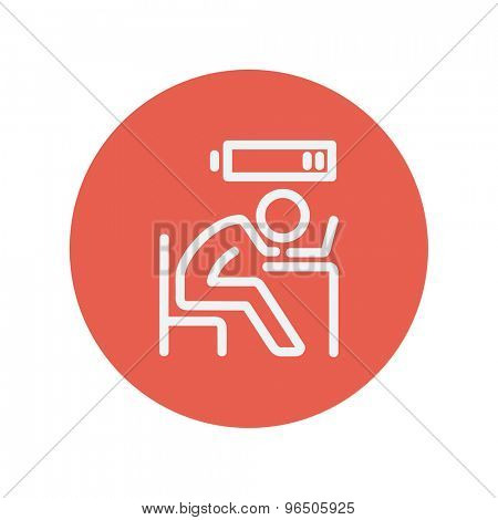 Businessman in low power thin line icon for web and mobile minimalistic flat design. Vector white icon inside the red circle.