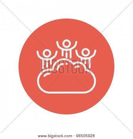 Three men on a cloud thin line icon for web and mobile minimalistic flat design. Vector white icon inside the red circle.