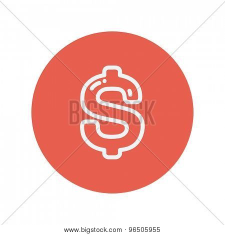 Dollar symbol thin line icon for web and mobile minimalistic flat design. Vector white icon inside the red circle.