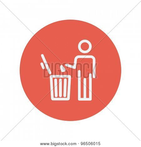 Man throwing garbage in a bin thin line icon for web and mobile minimalistic flat design. Vector white icon inside the red circle.