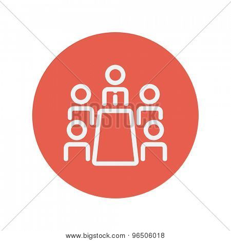 Business meeting in office thin line icon for web and mobile minimalistic flat design. Vector white icon inside the red circle.
