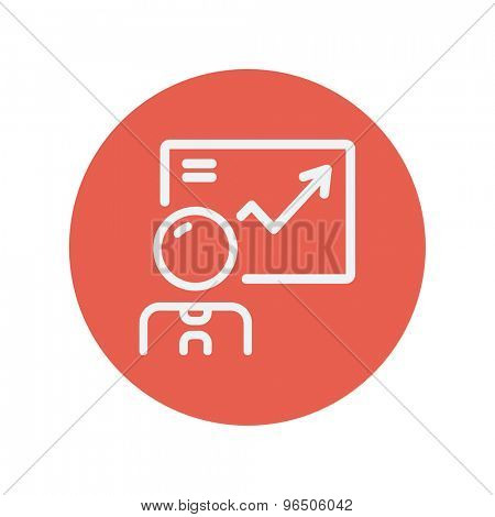 Infographic thin line icon for web and mobile minimalistic flat design. Vector white icon inside the red circle.