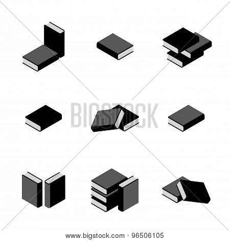 Set Of Stacks Of Books In Black And White