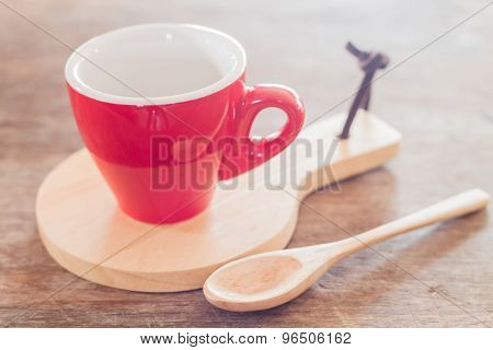 Red Mug With Wooden Plate