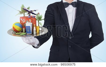 Travel Concept. Waiter Hold Restaurant Cloche With Recreation Objects. Travel Is Served! Tour Of Rec