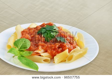 Tomato Sauce With Penne Pasta
