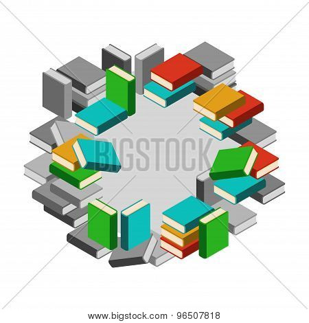 Set Of Stacks Of Books In Color And Gray Scale In Circle