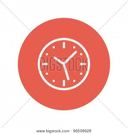 Wallclock thin line icon for web and mobile minimalistic flat design. Vector white icon inside the red circle.