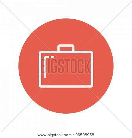 Briefcase thin line icon for web and mobile minimalistic flat design. Vector white icon inside the red circle.