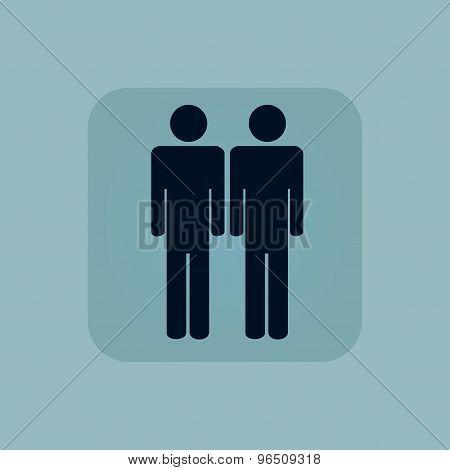 Pale blue two men icon