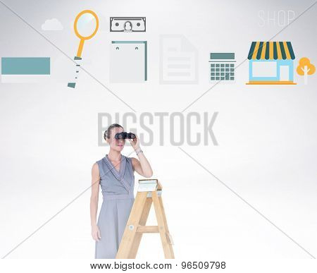 Businessman looking on a ladder against grey background