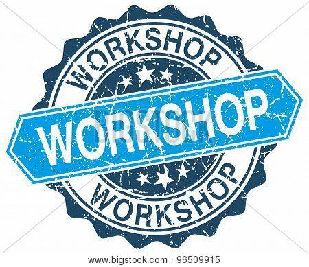 Workshop Blue Round Grunge Stamp On White