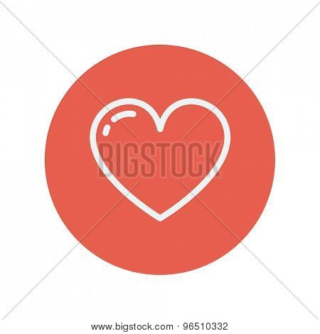 Heart thin line icon for web and mobile minimalistic flat design. Vector white icon inside the red circle.