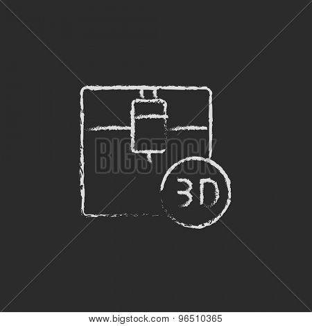 Three d printing machine hand drawn in chalk on a blackboard vector white icon on a black background