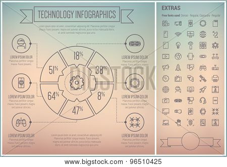 Technology infographic template and elements. The template includes the following set of icons - fax machine, game controller, gadget, wifi, television, gear, antenna and more. Modern minimalistic