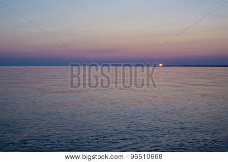 Sunset on a lake erie beach, Point Pelee conservation area, southwestern Ontario, Canada