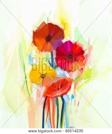 Oil Painting Of Spring Flowers . Still Life Of Yellow And Red Gerbera Flowers