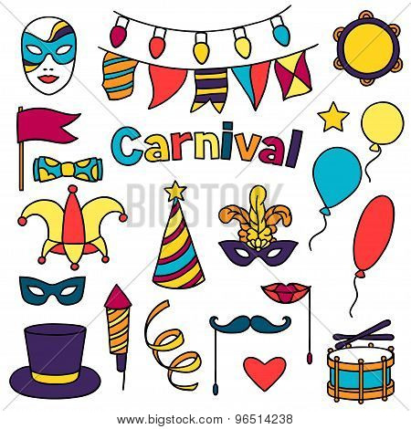 Carnival show set of doodle icons and objects
